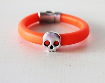 Neon orange bracelet, Silver skull bracelet, Silver skull Cuff, Summer bracelet, Orange cord cuff, Unisex bracelet, Friendship bracelet