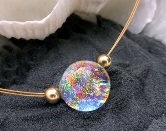 Dichroic Glass Necklace, Mermaid Tear Choker, in Sizzling, Fiery Colors, Tangerine Orange, Pink Teal, Gold Blue, Minimalist Gold