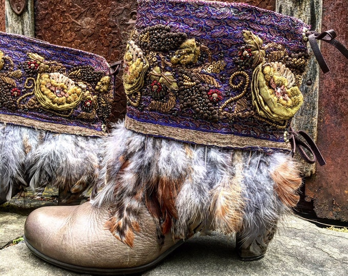 Bohemian Pandora Treasure Boot Wraps, Boot Jewelry, Genuine Leather, Wearable Fabric Art, Magical Boho Treasure ~ Sold as a Pair