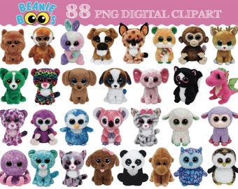 TY Beanie Boo 88 digital clipart images - transparent background ~ instant download ~ DIY ART ~ Birthday Party