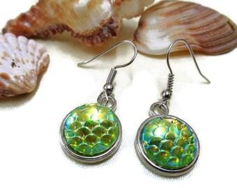 Mermaid Scale Earrings, Nautical Earrings, Ocean Earrings, Sealovers Earrings, Gift for Her, Green Scales, Fish Scales, Dragon Scales