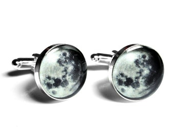 Full Moon Cufflinks, Moon Phase, Resin Cufflinks, Mens Accessories, Handmade Cufflinks, Lunar, Black Cufflinks, Space, Handmade