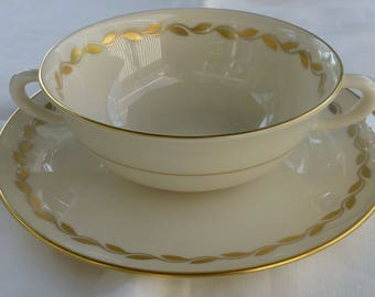 """LENOX 0-313 """"GOLDEN WREATH"""" Cream Soup Bowl and Underplate"""