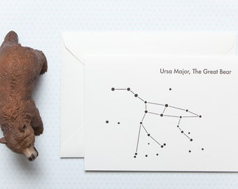 Ursa Major - The Great Bear - Letterpress Greetings card