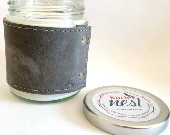 Leather wrapped, handpoured US soy wax candle - AMBER and OAK scent 9 oz. jar - Phthalate free