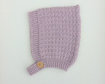 Pine Pixie Hat with Button Fastening - Dusky Pink - Made to Order
