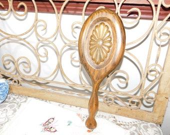 Vintage Wood Flower Hand Mirror, Vanity Hand Mirror, Vintage Mirror, Dresser Decor, Bathroom Decor,
