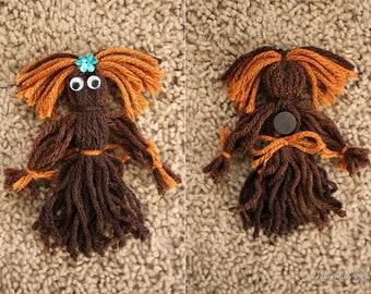 "Handmade Yarn Doll Magnet ""Serena"""