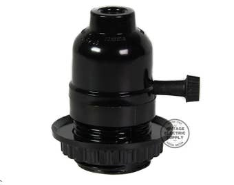 Black Phenolic Socket Rotary on/off with Screw Ring and Strain Relief