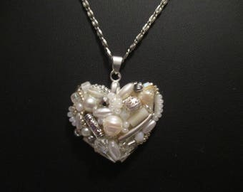 Beaded heart pendant