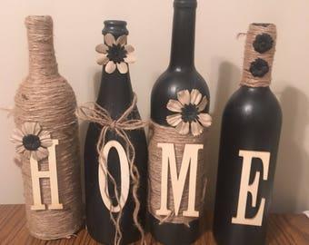 Wine bottle decor    Hand painted-home-custom Decorated wine bottle
