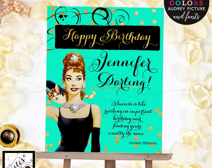 Breakfast at themed Happy Birthday Sign Poster, Audrey Hepburn sign, mint green and gold, pink and gold, Digital File Only! Read Below!!