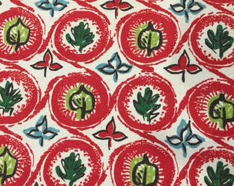 Fab Geometric Barkcloth with an Organic Flair// Mid Century Modern Circles and Leaves// Cotton Yardage// Upholstery//Home Decor//3 Panels