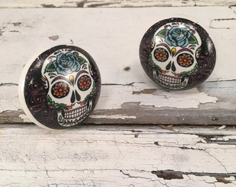 Round Ceramic Knobs, Day of the Dead, Hand Painted Ceramic Knob, Furniture Upgrade Cabinet Knobs Skull Painting On Pull, Item #489735375
