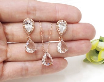 Bridesmaid gift set- clear crystal necklace, clear crystal earring, cubic zirconia earring,glass stone, rose gold necklace
