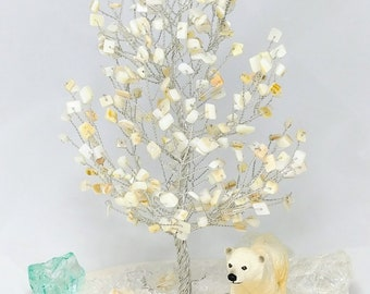 Handmade wire tree handmade Mother of pearls tree with polar bear Beaded tree sculpture Wire sculpture tree
