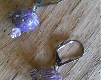 Purple Puffer Fish earrings // free shipping // tiki oasis // nautical // aquatic // summer luau