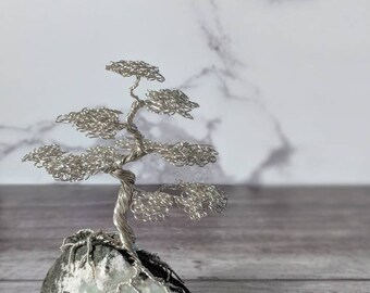 A non tarnishing silver plated copper wire tree on an apophyllite base. Wire tree sculpture. Bonsai tree. Wire tree