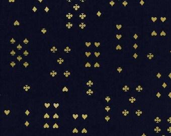 Follow Suit Navy Metallic  - Wonderland - Cotton LAWN - Anna Bond Rifle Paper Co - Cotton + Steel - 8021-41