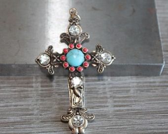 Vintage Style Cross Pendant, Ornate, embellished yellow Rhinestones, red corals and turquoise cabochon decorated cross, French, brass tone.