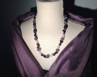 Handmade vintage style necklace purple and black necklace, glass and wood beads (up-cycled), crystals, bronze toggle clasp, 19 inches long