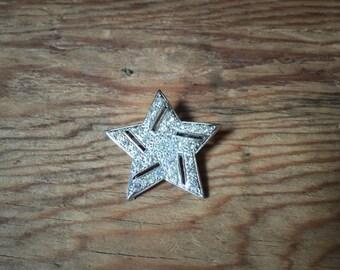 Vintage Coro Rhinestone Star Brooch
