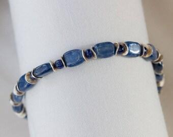 kyanite sapphire bracelet blue kyanite bracelet blue sapphire bracelet September birthstone gifts for women handmade jewelry blue bracelets