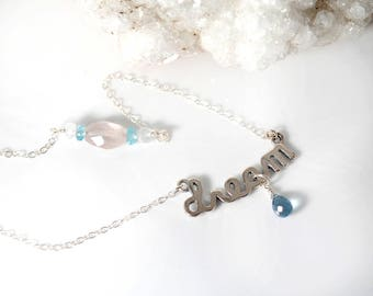 Sterling Silver DREAM necklace | Blue Topaz necklace | Silver Intention Setting necklace 4 Vision Ambition Hopes Goals | Dream Sign necklace