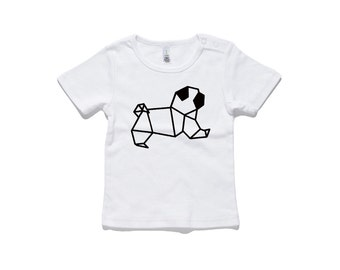 Origami Pug Baby T-Shirt by RockPaperHeart in white geometric dog kids tees