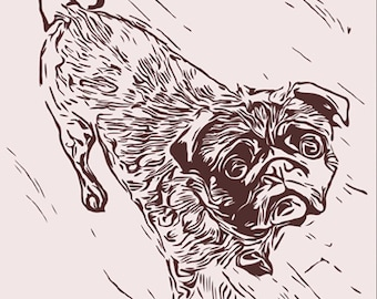 Pensive Pug Print