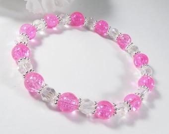 Neon Pink Bracelet w Silver Accents, Czech Bead Bracelet, Pink Glass Bracelet Womens Jewelry Elegant Bracelet, Fashion Bracelet, Jewelry Set