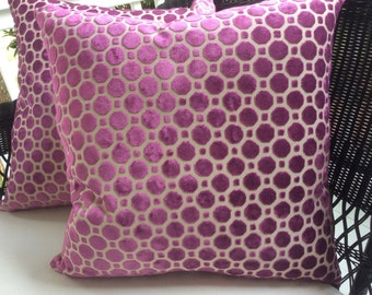 "Robert Allen Pillow Cover in Magenta ""Geo"" Design, Velvet Backing,"