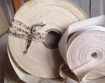 Vintage Trim, White Grosgrain upholstery tape Cotton Ecru / Antique French Trim  / Millinery & Upholstery / 5 yards