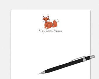 Personalized Notepads - Red Fox Notepad - Personalized Stationery Notepads - Custom Gifts - Cute Notepads