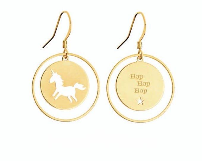 Pair of earrings EM4B0 Unicorn print