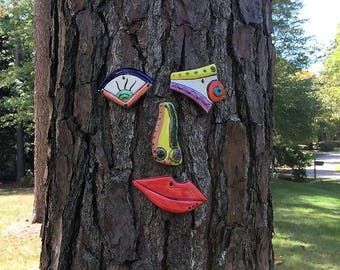 Tree Face Picasso Inspired Original Unique Garden Yard Art - Handmade Pottery