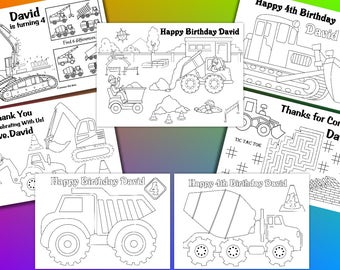 Construction Birthday Party, Truck Party coloring pages, PDF file