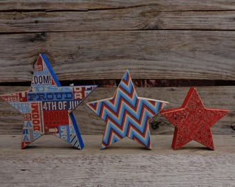 Summer Decor- 4th of July Decor- Americana Decor- USA Decor- Star Decor-Set of 3 stars