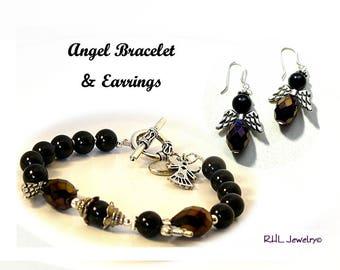 Angel Bracelet, Black Angel Bracelet and Earrings Set, Beaded Angel Jewelry, Angel Gifts - B2013-06 E13-04