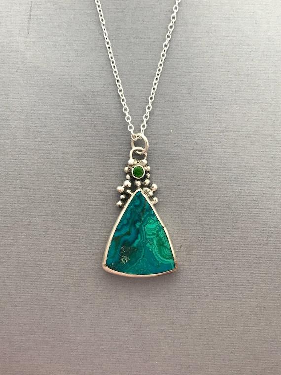 Azurite and malachite, tsavorite, granulation, sterling silver, handmade pendant