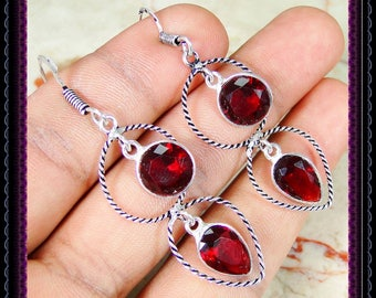 Quartz Garnet Earrings
