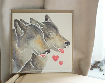 GREY/TIMBER WOLVES - cute printed wolf watercolour design greetings card by York artist Jess Chappell, Valentine's day, anniversary, wedding