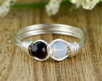 Any Two Birthstone Crystals Infinity Ring-  Silver, Yellow or Rose Gold Filled Wire Wrapped Personalized -Size 4 5 6 7 8 9 10 11 12 13 14
