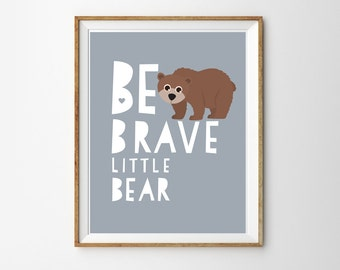 Cute Woodland Bear Print for a Baby Boy's Nursery/Room - Woodland Prints - Instant Download Wall Art - Print at Home