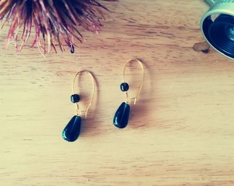 Earrings drops black and gold