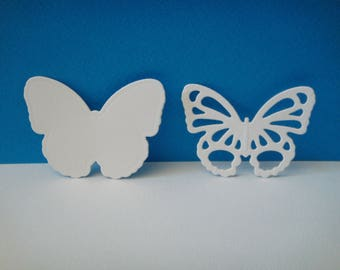 Cutting white 2 butterflies set of 4 cm height