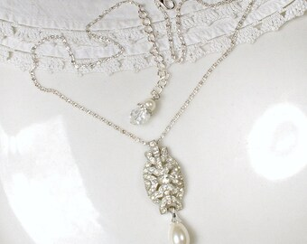 Antique 1920s French Paste Rhinestone & Pearl Pendant Necklace, Vintage Art Deco Silver Pave Crystal, Great Gatsby Bridal Speakeasy Wedding