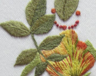 Hand embroidery kit,Rose, or idea for Christmas present