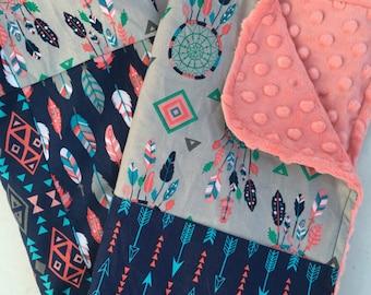 Tribal Girls Baby Blanket Lovey Minky Blanket, Nursery Bedding Native American Dream Catchers Arrows Feathers Navy Grey and Coral Minky