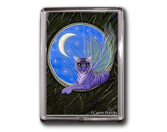 Tiger Fairy Cat Magnet Purple Tiger Pixie Moon Stars Gothic Fantasy Cat Art Framed Magnet Gifts For Cat Lovers